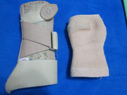 The two braces I wear - hard brace on left, soft brace on right.