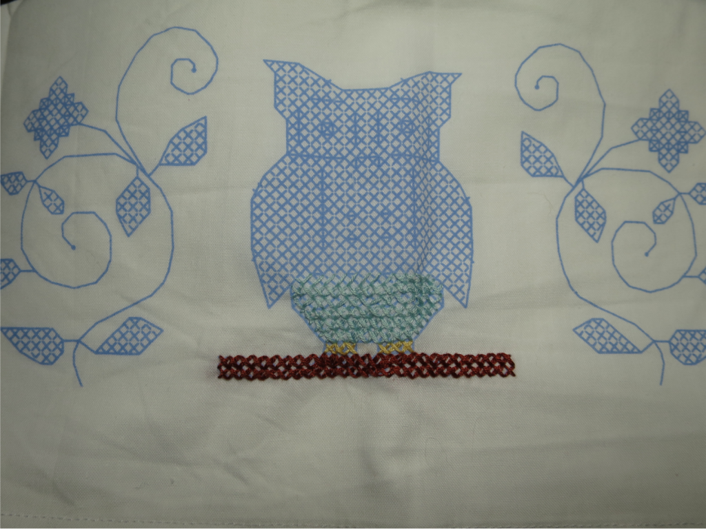Progress on the first of the two pillow cases.