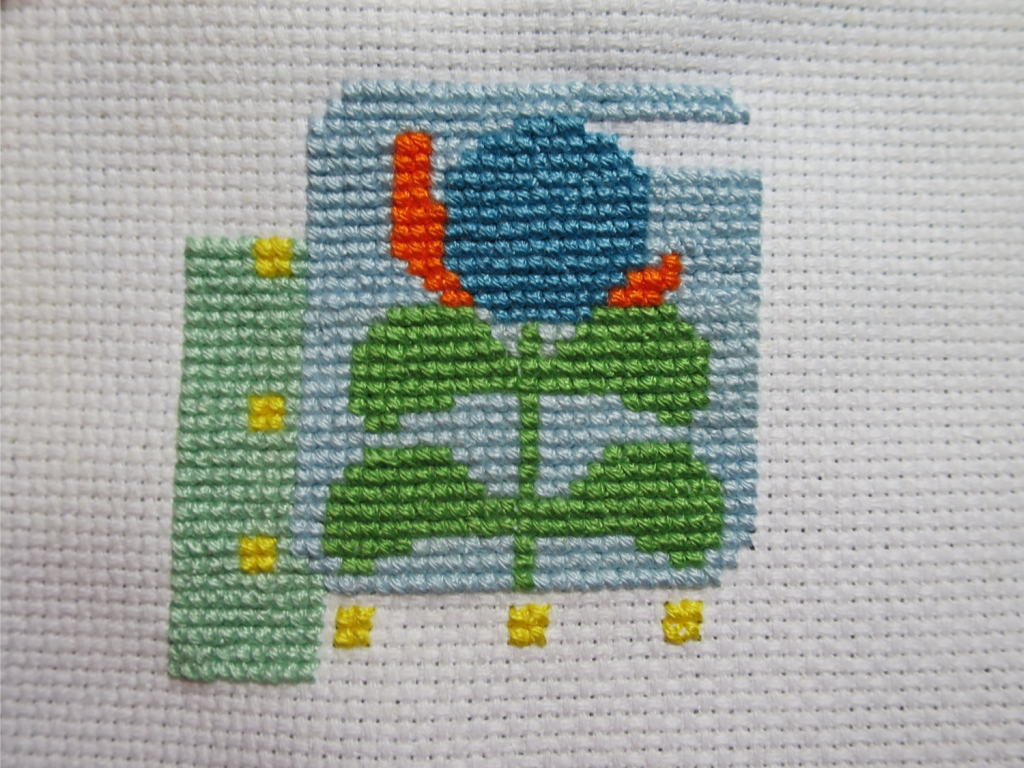 I am so close to being 100% done with the blue! Just the green and yellow and backstitch left!